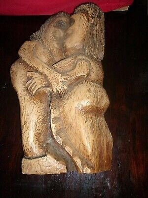 Hand Carved Wooden Jamaica Man Woman 17 IN Tall Heavy Wood MADE BY JARRY SALEM