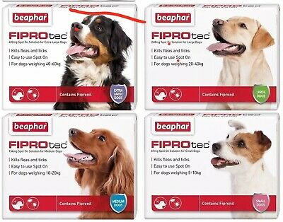 Beaphar Fiprotec FIPROtec Flea Spot On Small Medium Large XL Dog 1 4 6 Treatment