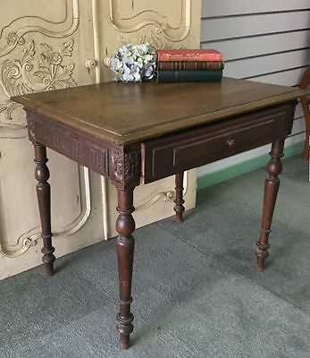 Antique French Writing Table Desk Henri II Style Chestnut  - i118