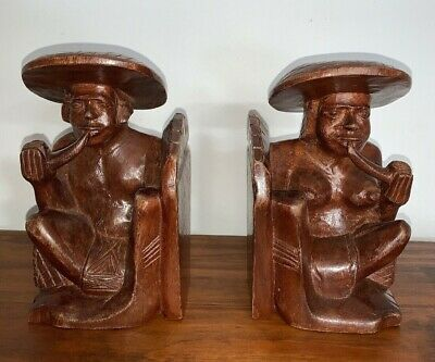 Asian Hand Carved Wood Bookend Rustic Figurines Man & Woman