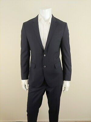 Hugo Boss Mens Wool James4 Sharp6 Wool Dark Blue Two Button Style Suit Size 40R