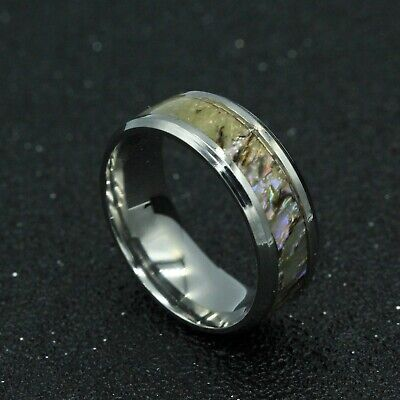 8mm Silver 316L Titanium Stainless Steel Men Women Shell Band Ring Size 7