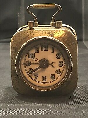 Antique Carriage Mini Miniature Wind Up Travel Alarm Clock In Brass Case!