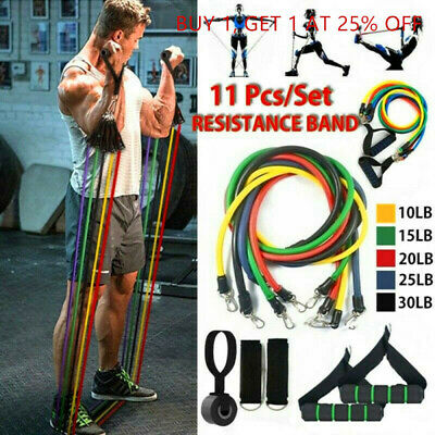 11pcs Resistance Trainer Set Exercise Fitness Tube Gym Workout Bands Strength++