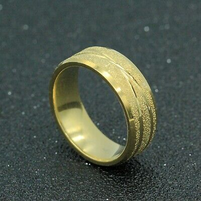 8mm 18K Gold Plated 316L Titanium Stainless Steel Men Women Band Ring Size 8