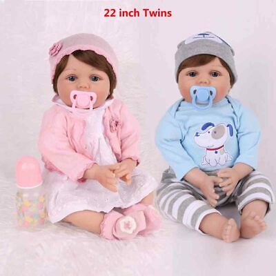 "22"" Twins Reborn Baby Dolls Girl+Boy Newborn Vinyl Silicone Lifelike Toddler US"