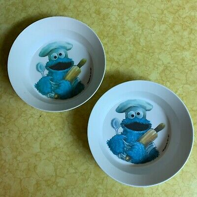Vintage 1977 NHP Sesame Street Cookie Monster Cereal Bowl Lot of 2 Plastic VG