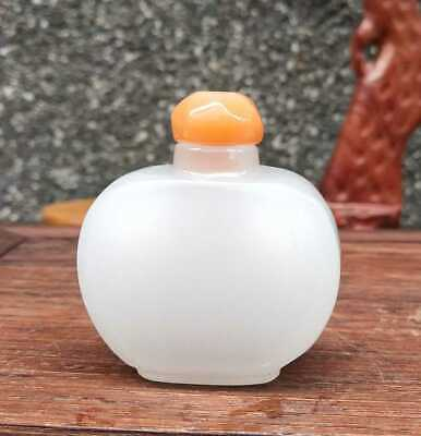Chinese Natural HeTian Jade Handmade Carved Statue Exquisite Snuff Bottles 018