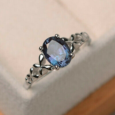 Elegant Women 925 Silver Jewelry Oval Cut Blue Sapphire Wedding Ring Size 6-10