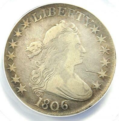 1806 Draped Bust Half Dollar 50C Coin - Certified ANACS F12 Details - Rare Coin!