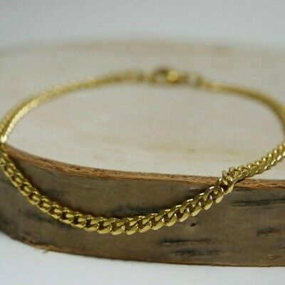 Stainless Steel Bracelet Blank - L: 20cm, Ø 3mm Gold Curb Chain Material