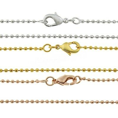 Fine 1mm Necklaces Blanks with Carabiner Closure 42/45cm Jewellery Ball New