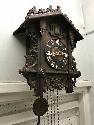 Antique Victorian large black Forrest cuckoo clock fully working
