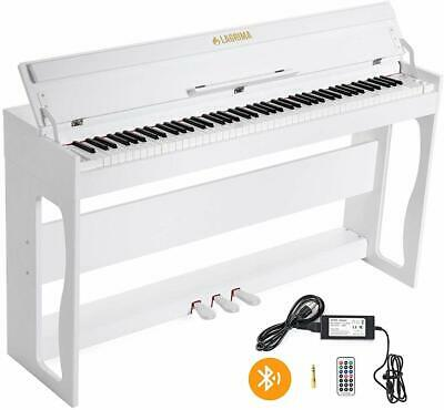 88 Key Electric Weighted Digital LCD Display Piano Keyboard 3 Pedals+Stand White