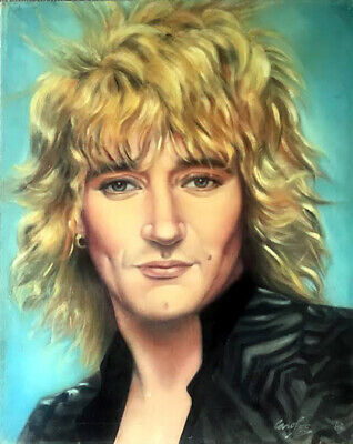 PORTRAIT Rod Stewart fine art painting ORIGINAL signed canvas 80s rock music