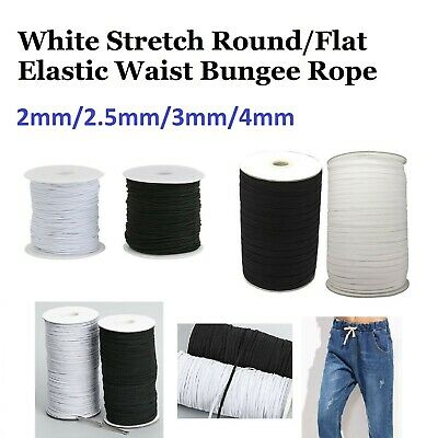 White Stretch Round Flat Elastic Waist Band Woven Bungee Rope Cord Dress Making