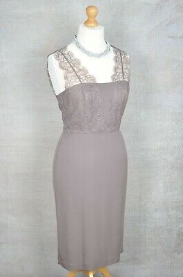 LK BENNETT Brown/Taupe lace pencil fit dress UK 14