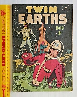 1966 Australian Sci-Fi Comic Twin Earths #13 Silver Age Astronaut Cover Page Gc!