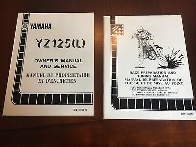 Coppia Manuali Yamaha Yz 125 1984 (L) In Inglese e Francese, Cod: 39W-28199-70