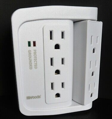 Woods 41302 Dual USB Charger 4-Outlet Surge Protector Powerstrip 800J NEW™
