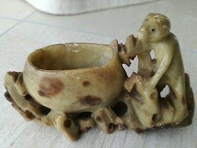 ANTIQUE CHINESE INKWELL BRUSH POT SOAPSTONE MONKEY 19TH CENTURY (2nd)