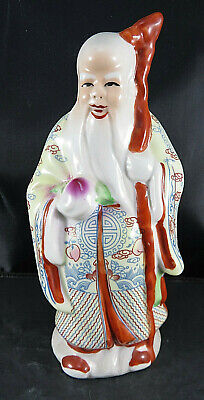 VTG Porcelain BUDDHA & Dragon Stick Wise Old Chinese Man Figurine Hand Painted