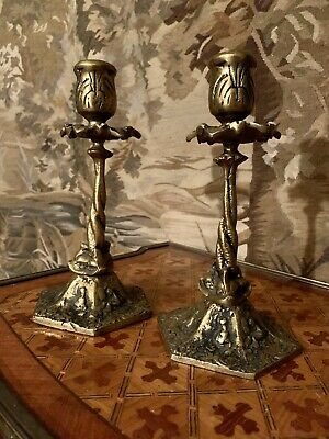Antique Bronze Dolphin Ornate Engraved Nautical Candlesticks English Country