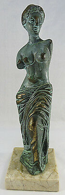 """Vintage Bronze Statue of Aphrodite on Marble Base 9"""" Tall"""