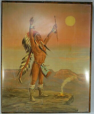 Vintage Native American Indian Sioux Man Painting Shellacked on Wood Board Print