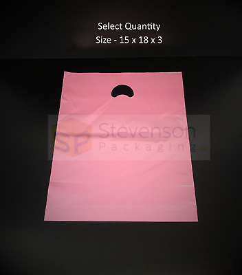 Strong Luxury Plastic Carrier Bags Patch Handle Boutique Gift Shop Retail Pink