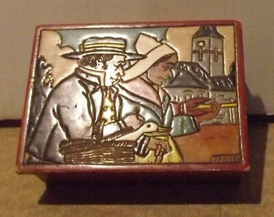 Vintage marquetry box figural Bretons French Brittany couple mid century design