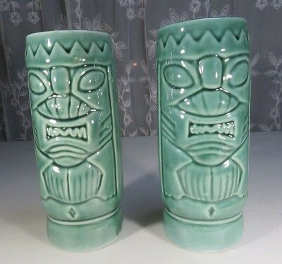 Vintage pair of Chinese green glazed celadon vase God Mask Tribal décor