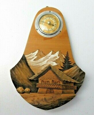 Rare Vintage Swiss or German Wood Wall Sculpture Handpainted signed Barometer