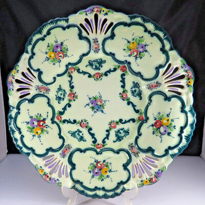 Large generous luxurious flower decorated round ceramic tray pottery Portugal