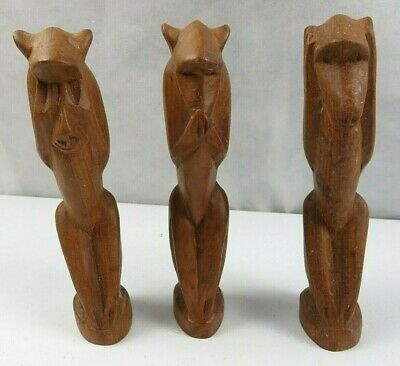 Lot of 3 Vintage African Wood Hand Carved Monkeys Figure See Hear Speak No Evil