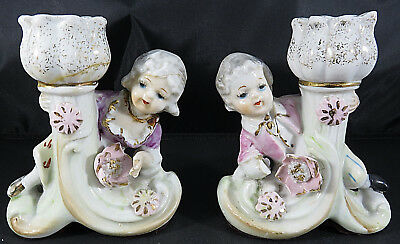 "Vintage Pair Ornate Porcelain Boy & Girl Playing Candlestick Holders 4"" tall"