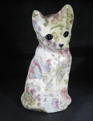 "Vtg flowers decorated cat statue figurine ""craquelé"" Art Nouveau Boudoir deco"
