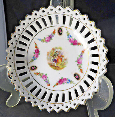 Antique German porcelain tray cup bowl romantic courting couple n roses decor