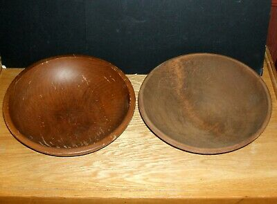Vtg Primitive Wood Hand Turned Dough/Mixing Bowls      Lot Of  2