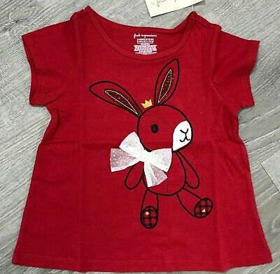 NEW FIRST IMPRESSIONS Baby Girls Bunny Bow Cotton Top, 24M