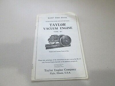 Instructions on Taylor Vacuum Type B Gas Engine Motor Book Flywheel Parts List