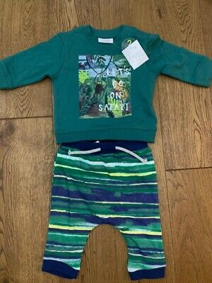 Bnwt Next Baby Boys 2 Piece Set Top And Bottoms Safari Theme Age Up To 3 Months