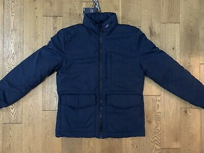 Bnwt Next Navy Blue Zip Up Shower Resistant Padded Quilted Hood Jacket Size M