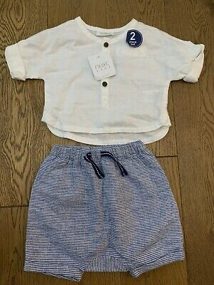 Bnwt Next Baby Boys 2 Piece Linen Shirt And Shorts Summer Set Age Up To 1 Month