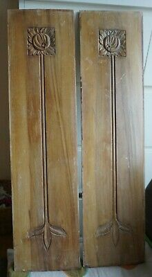 Orginal Edwardian Wood Panels Art Deco from a wardrobe x 2
