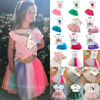 Printed Kids Girls Princess Tutu Dress Birthday Party Pageant Skirts Outfit Gift