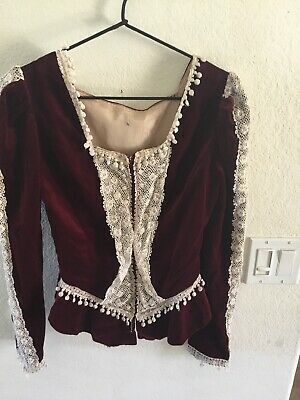 Vintage Handmade Edwardian Style Burgundy Velvet Top With Lace Size XS