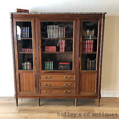 Antique Parisian French Bookcase Vitrine Display Cabinet Marble Top- PQ016