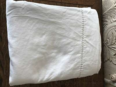 French Vintage Cotton & Linen Bed Sheet Ladder Stitched End - PQF06