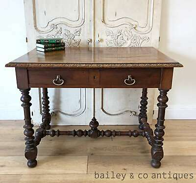 Antique French Writing Desk Table Oak Barley Twist - TA062